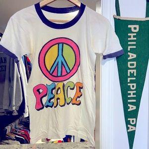 Vintage 80's Womens Medium Peace Sign Ringer Tee